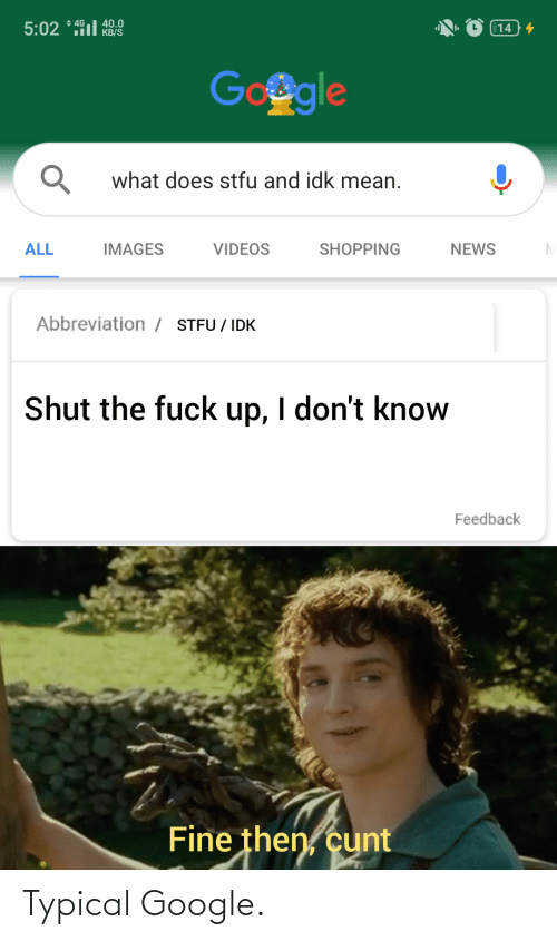 Images: + 4G  40.0  KB/S  5:02 * 491l  14 4  Google  what does stfu and idk mean.  ALL  IMAGES  VIDEOS  SHOPPING  NEWS  Abbreviation / STFU / IDK  Shut the fuck up, I don't know  Feedback  Fine then, cunt Typical Google.