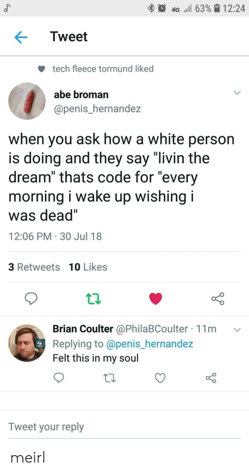 "Penis, White, and MeIRL: 4G 63% 12:24  Tweet  tech fleece tormund liked  abe broman  @penis_hernandez  when you ask how a white person  is doing and they say ""livin the  dream"" thats code for ""every  morning I wake up wishing I  was dead""  12:06 PM 30 Jul 18  3 Retweets 10 Likes  Brian Coulter @PhilaBCoulter 11m v  Replying to @penis_hernande:z  Felt this in my soul  Tweet your reply meirl"