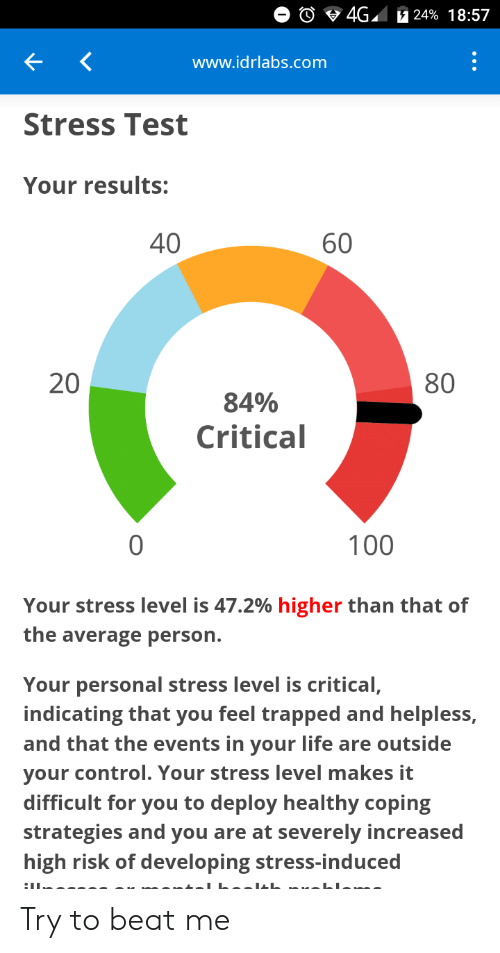 Life, Control, and Test: 4G7 24% 18:57  www.idrlabs.com  Stress Test  Your results:  40  60  20  80  84%  Critical  0  100  Your stress level is 47.2% higher than that of  the average person.  Your personal stress level is critical,  indicating that you feel trapped and helpless,  and that the events in your life are outside  your control. Your stress level makes it  difficult for you to deploy healthy coping  strategies and you are at severely increased  high risk of developing stress-induced Try to beat me