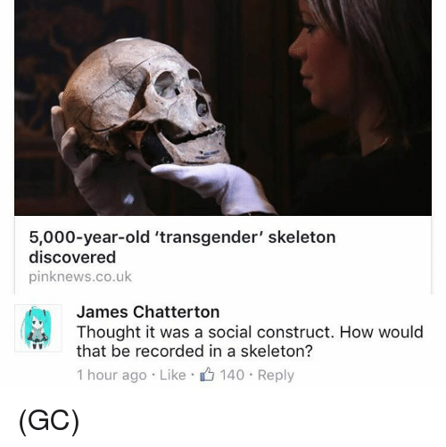 social construct: 5,000-year-old 'transgender' skeleton  discovered  pinknews.co.uk  James Chatterton  Thought it was a social construct. How would  that be recorded in a skeleton?  1 hour ago Like 140 Reply (GC)