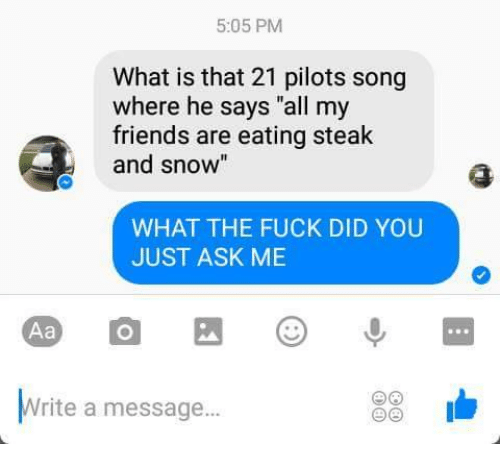 """Friends, Fuck, and Snow: 5:05 PM  What is that 21 pilots song  where he says """"all my  friends are eating steak  and snow  WHAT THE FUCK DID YOU  JUST ASK ME  Aa  Write a message..."""
