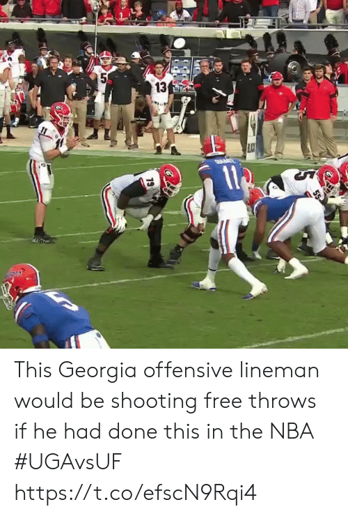 Nba, Sports, and Free: 5  13  19 This Georgia offensive lineman would be shooting free throws if he had done this in the NBA #UGAvsUF https://t.co/efscN9Rqi4