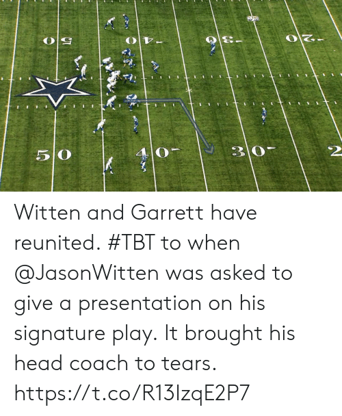 Head, Memes, and Tbt: 5 O  4 0  2 Witten and Garrett have reunited.  #TBT to when @JasonWitten was asked to give a presentation on his signature play.  It brought his head coach to tears. https://t.co/R13IzqE2P7