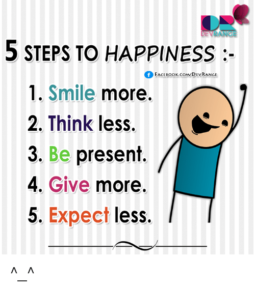 Conne: 5 STEPS TO HAPPINESS  FACEBOOK CONN DEVRANGE  1. Smile  more.  2. Think less.  3. Be present  4. Give  more.  5. Expect  less. ^_^