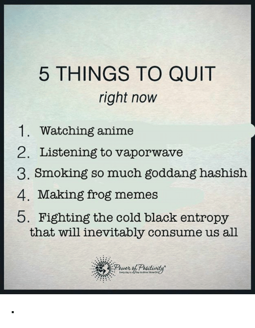 frog meme: 5 THINGS TO QUIT  right now  1. Watching anime  2. Listening to vaporwave  3. Smoking so much goddang hashish  4. Making frog memes  b. Fighting the cold black entropy  that will inevitably consume us all ·