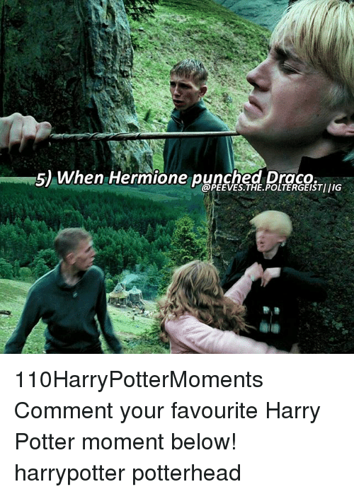Memes, 🤖, and Poltergeist: 5) When Hermione punched Draco.  POLTERGEIST IG 110HarryPotterMoments Comment your favourite Harry Potter moment below! harrypotter potterhead