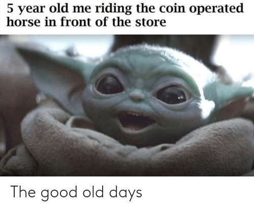 riding: 5 year old me riding the coin operated  horse in front of the store The good old days