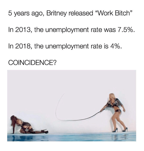 "Bitch, Dank, and Work: 5 years ago, Britney released ""Work Bitch""  In 2013, the unemployment rate was 7.5%  In 2018, the unemployment rate is 4%  COINCIDENCE?"