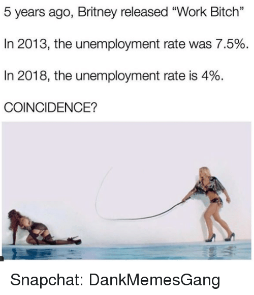 "Bitch, Memes, and Snapchat: 5 years ago, Britney released ""Work Bitch""  In 2013, the unemployment rate was 7.5%  In 2018, the unemployment rate is 4%.  COINCIDENCE? Snapchat: DankMemesGang"