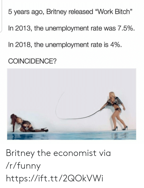 """the economist: 5 years ago, Britney released """"Work Bitch""""  In 2013, the unemployment rate was 7.5%  In 2018, the unemployment rate is 4%  COINCIDENCE? Britney the economist via /r/funny https://ift.tt/2QOkVWi"""