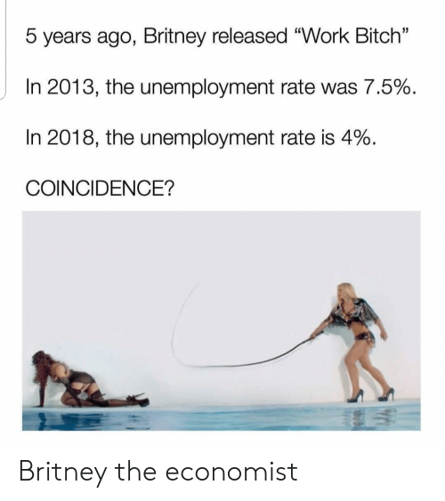 """the economist: 5 years ago, Britney released """"Work Bitch""""  In 2013, the unemployment rate was 7.5%  In 2018, the unemployment rate is 4%  COINCIDENCE? Britney the economist"""