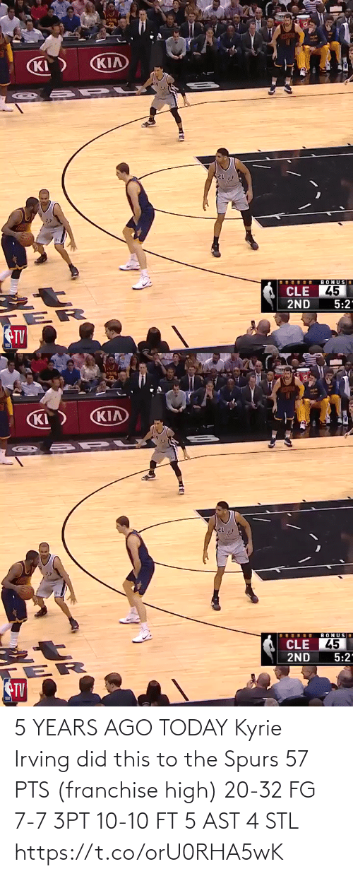 kyrie: 5 YEARS AGO TODAY Kyrie Irving did this to the Spurs  57 PTS (franchise high) 20-32 FG 7-7 3PT 10-10 FT 5 AST 4 STL https://t.co/orU0RHA5wK