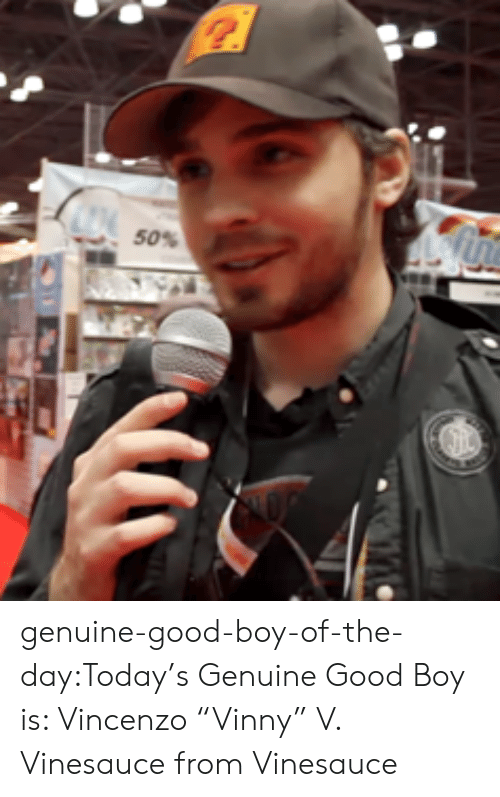 "Target, Tumblr, and Blog: 50% genuine-good-boy-of-the-day:Today's Genuine Good Boy is: Vincenzo ""Vinny"" V. Vinesauce from Vinesauce"