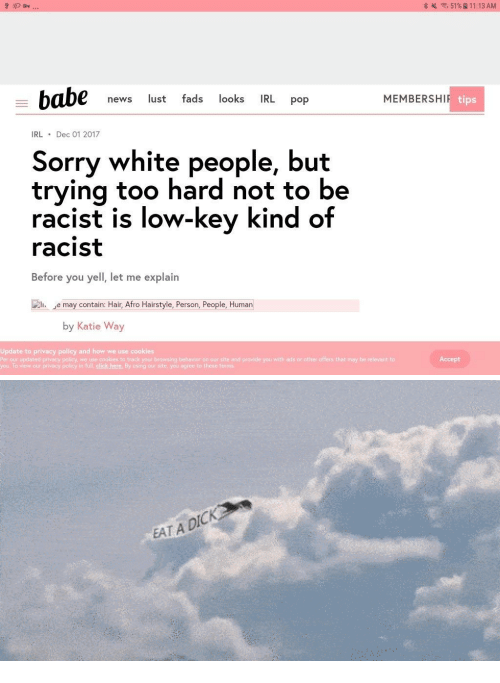 Click, Cookies, and Low Key: 51 %  11:13AM  news lust fads looks IRL pop  MEMBERSHI  tips  IRLDec 01 2017  Sorry white people, but  trving too hard not to be  racist is low-key kind of  racist  Before you yell, let me explain  e may contain: Hair, Afro Hairstyle, Person, People, Human  by Katie Way  Update to privacy policy and how we use cooki  Per our updated privacy palicy, we use cookies to track yout browsing behavior on our site and provide you with ads or ather offers that may be relevant to  you. To view our privacy policy in full, click here. By using our site you agree to these terms  es  Accept   EAT A DIC