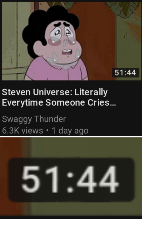 Swaggy: 51:44  Steven Universe: Literally  Everytime Someone Cries...  Swaggy Thunder  6.3K views 1 day ago   51:44