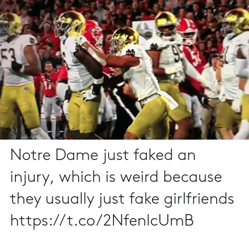 Notre Dame: 53  950 Notre Dame just faked an injury, which is weird because they usually just fake girlfriends https://t.co/2NfenlcUmB