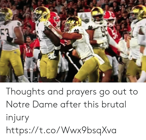 Notre Dame: 53  950 Thoughts and prayers go out to Notre Dame after this brutal injury https://t.co/Wwx9bsqXva