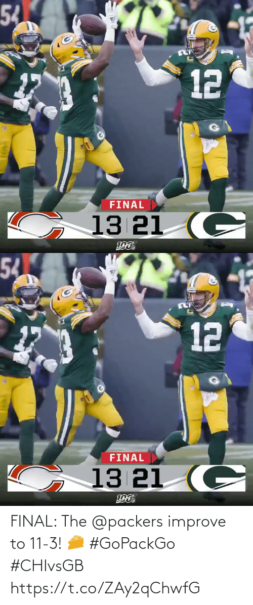 Improve: 54  FINAL  13 21 (C  12   54  α  FINAL  13 21 (C  12 FINAL: The @packers improve to 11-3! 🧀 #GoPackGo #CHIvsGB https://t.co/ZAy2qChwfG