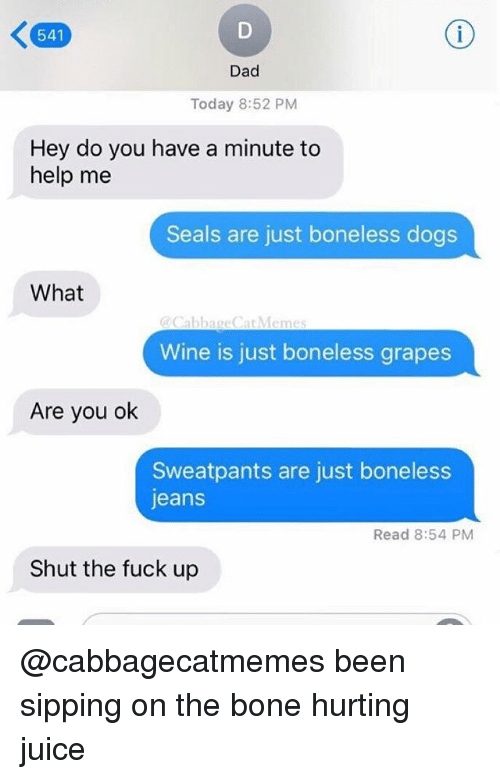 Dad, Dogs, and Juice: 541  Dad  Today 8:52 PM  Hey do you have a minute to  help me  Seals are just boneless dogs  What  CabbageCat Memes  Wine is just boneless grapes  Are you ok  Sweatpants are just boneless  jeans  Read 8:54 PM  Shut the fuck up @cabbagecatmemes been sipping on the bone hurting juice