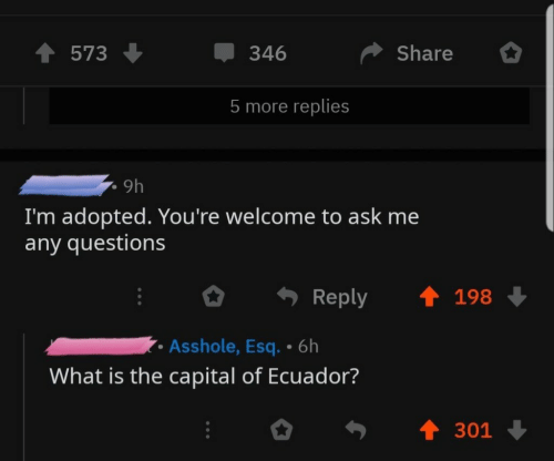Capital, Ecuador, and What Is: 573  346  Share  5 more replies  9h  I'm adopted. You're welcome to ask me  any questions  Reply 198  Asshole, Esq. 6h  What is the capital of Ecuador?  301