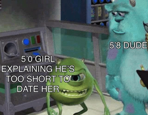 Dude, Memes, and Date: 5'8 DUDE  5'0 GIRL  EXPLAINING HE'S  TOO SHORT TO  DATE HER