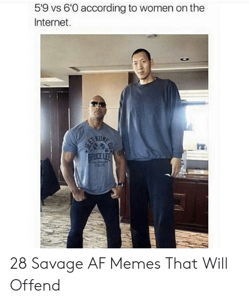 Af, Internet, and Memes: 5'9 vs 6'0 according to women on the  Internet.  ICE 28 Savage AF Memes That Will Offend