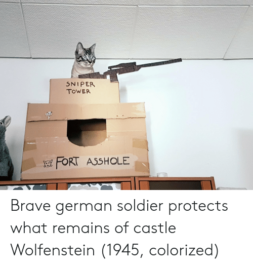 Brave, Asshole, and Castle: 5NIPER  TOWER  FORT ASSHOLE Brave german soldier protects what remains of castle Wolfenstein (1945, colorized)