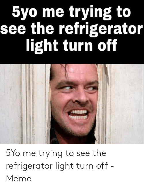 Me Trying To: 5Yo me trying to see the refrigerator light turn off - Meme