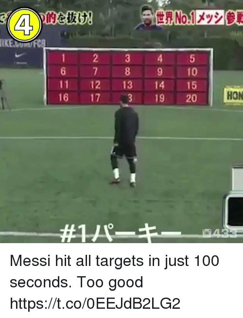 Anaconda, Soccer, and Good: 6 7 89 10  11 12 13 14 15  16 17、3 19 20  HON  1/ Messi hit all targets in just 100 seconds. Too good https://t.co/0EEJdB2LG2