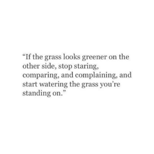 "Other Side: 60  ""If the grass looks greener on the  other side, stop staring,  comparing, and complaining, and  start watering the grass you're  standing on."