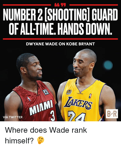 Dwyane Wade, Kobe Bryant, and Twitter: 611  NUMBER 2 (SHOOTINGI GUARD  OF ALLTIME, HANDS DOWN  DWYANE WADE ON KOBE BRYANT  AKERS  B-R  VIA TWITTER Where does Wade rank himself? 🤔