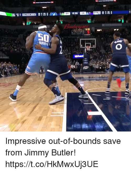 Jimmy Butler, Memes, and 🤖: 64  639  50 Impressive out-of-bounds save from Jimmy Butler! https://t.co/HkMwxUj3UE