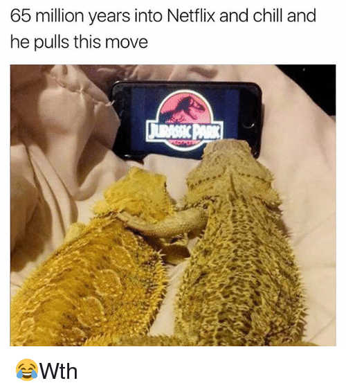 Netflix And Chilling: 65 million years into Netflix and chill and  he pulls this move 😂Wth