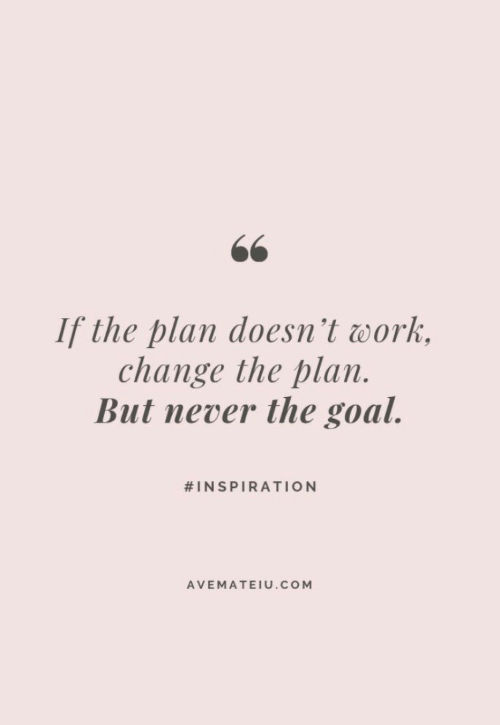 Work, Goal, and Change: 66  If the plan doesn't work  change the plan.  But never the goal.  #INSPIRATION  AVEMATEIU.COM