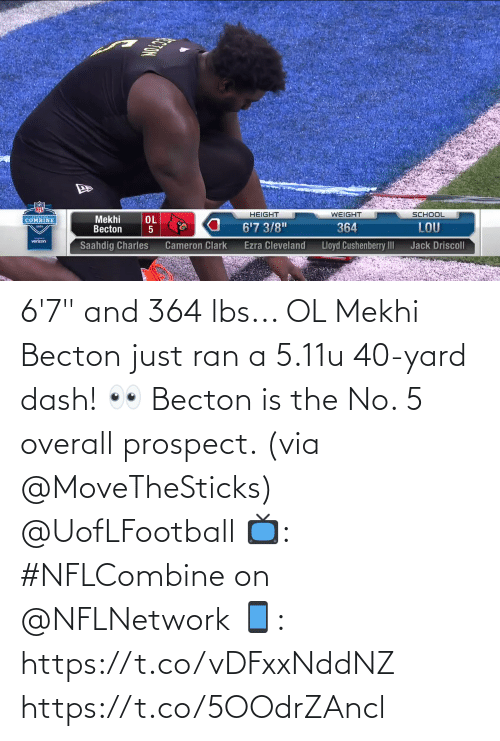"nflnetwork: 6'7"" and 364 lbs... OL Mekhi Becton just ran a 5.11u 40-yard dash! 👀   Becton is the No. 5 overall prospect. (via @MoveTheSticks) @UofLFootball  📺: #NFLCombine on @NFLNetwork 📱: https://t.co/vDFxxNddNZ https://t.co/5OOdrZAncl"
