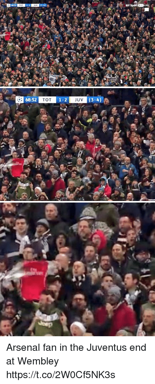 wembley: 68:52  TOT  1-2  3-4  BT Sport 2HDLIVE  JUV   68:52  TOT  1-2  JUV Arsenal fan in the Juventus end at Wembley https://t.co/2W0Cf5NK3s