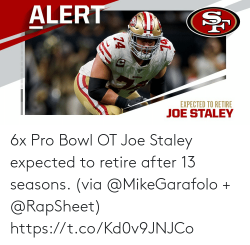 expected: 6x Pro Bowl OT Joe Staley expected to retire after 13 seasons. (via @MikeGarafolo + @RapSheet) https://t.co/Kd0v9JNJCo