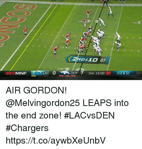 aires: 7  0&10 07  MFLACDEN  210 15:00 07  DEN 72ND 15:00  2nd & 10 AIR GORDON!  @Melvingordon25 LEAPS into the end zone! #LACvsDEN #Chargers https://t.co/aywbXeUnbV