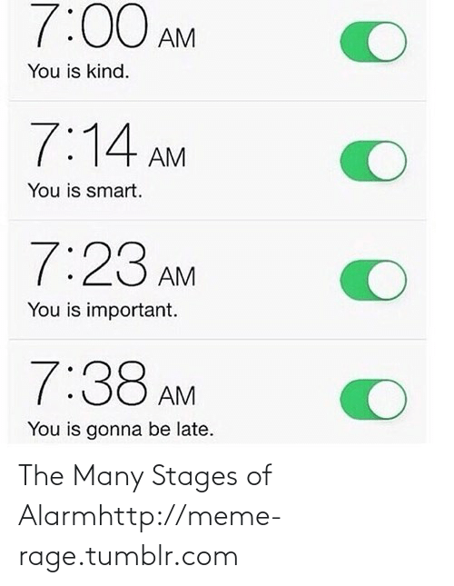 Be Late: 7:00 AM  You is kind.  7:14 AM  You is smart.  7:23 AM  You is important.  7:38 AM  You is gonna be late. The Many Stages of Alarmhttp://meme-rage.tumblr.com