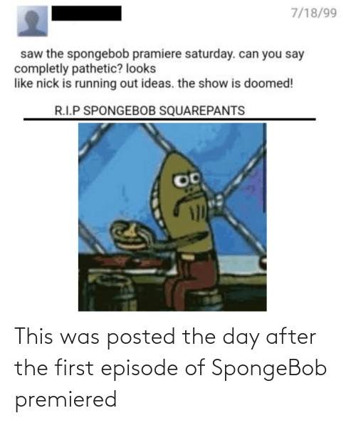 Nick: 7/18/99  saw the spongebob pramiere saturday. can you say  completly pathetic? looks  like nick is running out ideas. the show is doomed!  R.I.P SPONGEBOB SQUAREPANTS This was posted the day after the first episode of SpongeBob premiered