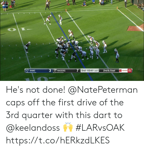 caps: 7 3rd 10:41 :17  RED  TOYOTA Z0NE  2nd & Goal  RAMS  RAIDERS He's not done!  @NatePeterman caps off the first drive of the 3rd quarter with this dart to @keelandoss 🙌  #LARvsOAK https://t.co/hERkzdLKES