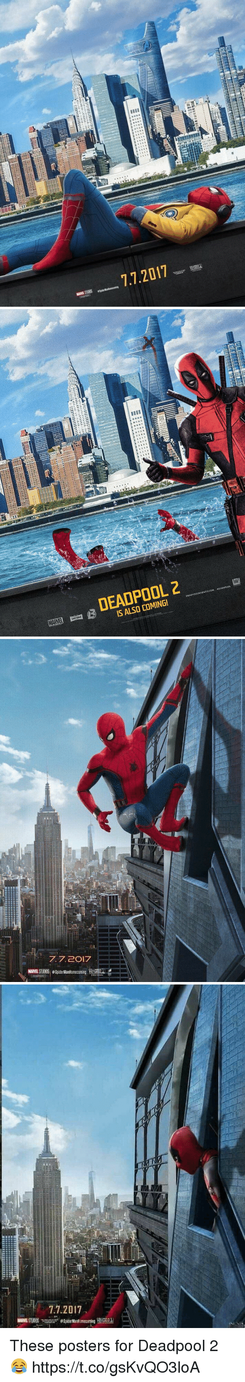 Deadpool, Columbia, and Spy: 7.7.2017   DEADPOOL 2  aDEADPOOL  EBSIT  DP  MAME B   77, 2017  COLUMBIA  MAME STUDOS #SpiderManHomecoming  CTURES   - 7.7.2017  wmusus war #Spi Manitomecarting  n  ELI II lijuuuuu These posters for Deadpool  2 😂 https://t.co/gsKvQO3loA