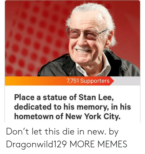 York City: 7,751 Supporters  Place a statue of Stan Lee,  dedicated to his memory, in his  hometown of New York City. Don't let this die in new. by Dragonwild129 MORE MEMES