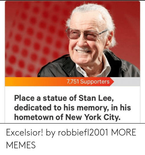 York City: 7,751 Supporters  Place a statue of Stan Lee,  dedicated to his memory, in his  hometown of New York City. Excelsior! by robbiefl2001 MORE MEMES