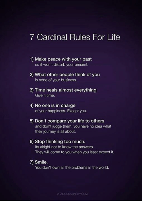 Journey, Life, and Too Much: 7 Cardinal Rules For Life  1) Make peace with your past  so it won't disturb your present.  2) What other people think of you  3) Time heals almost everything  4) No one is in charge  5) Don't compare your life to others  is none of your business.  Give it time  of your happiness. Except you.  and don't judge them, you have no idea what  their journey is all about.  6) Stop thinking too much.  Its alright not to know the answers.  They will come to you when you least expect it.  7) Smile.  You don't own all the problems in the world.  VITALIGUSATINSKY.COM