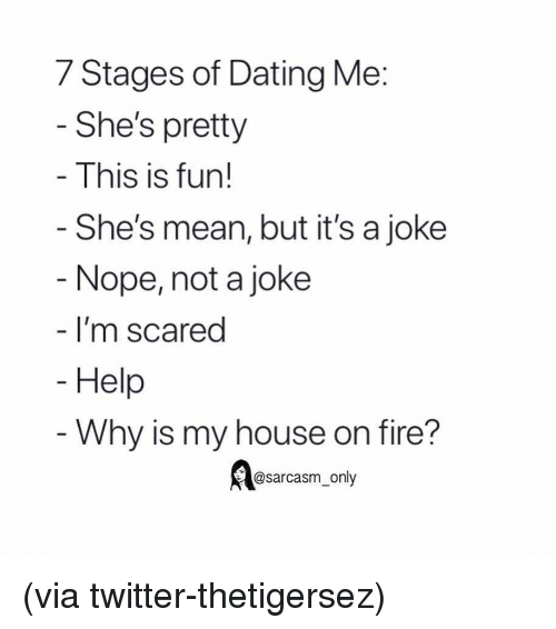 Dating, Fire, and Funny: 7 Stages of Dating Me  She's pretty  This is fun!  She's mean, but it's a joke  Nope, not a joke  I'm scared  Help  Why is my house on fire?  @sarcasm_only (via twitter-thetigersez)