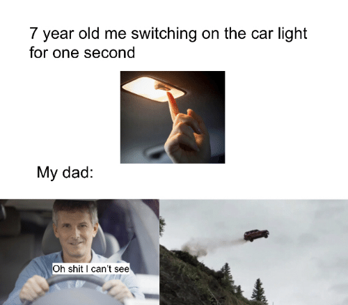 Dad, Shit, and Old: 7 year old me switching on the car light  for one second  My dad:  Oh shit I can't see