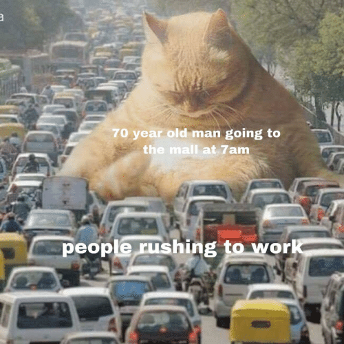 Old Man, Work, and Old: 70 year old man going to  the mall at 7am  people rushing to  work