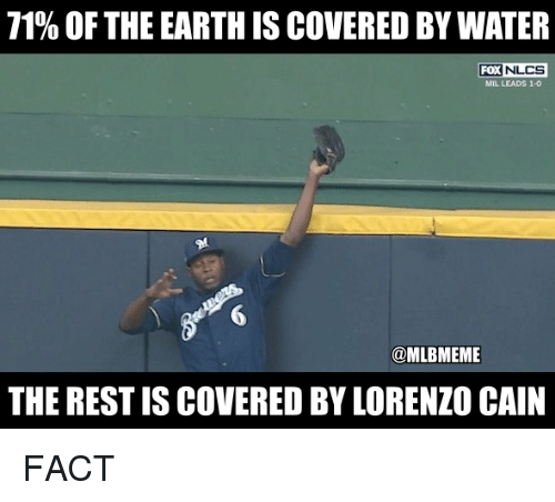 Mlb, Earth, and Water: 71% OF THE EARTH IS COVERED BY WATER  FOX  NLCS  MIL LEADS 1-0  6  @MLBMEME  THE REST IS COVERED BY LORENZO CAIN FACT