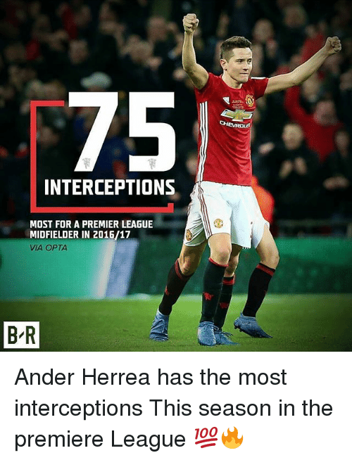 premiere league: 75  INTERCEPTIONS  MOST FOR A PREMIER LEAGUE  MIDFIELDER IN 2016/17  VIA OPTA  BR Ander Herrea has the most interceptions This season in the premiere League 💯🔥